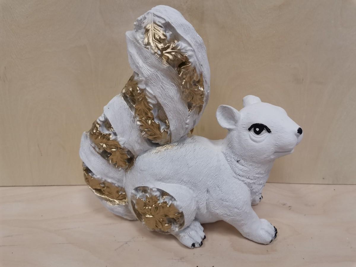 """Сувенир """"Белка"""", гипс, цвет - белый с золотом."""