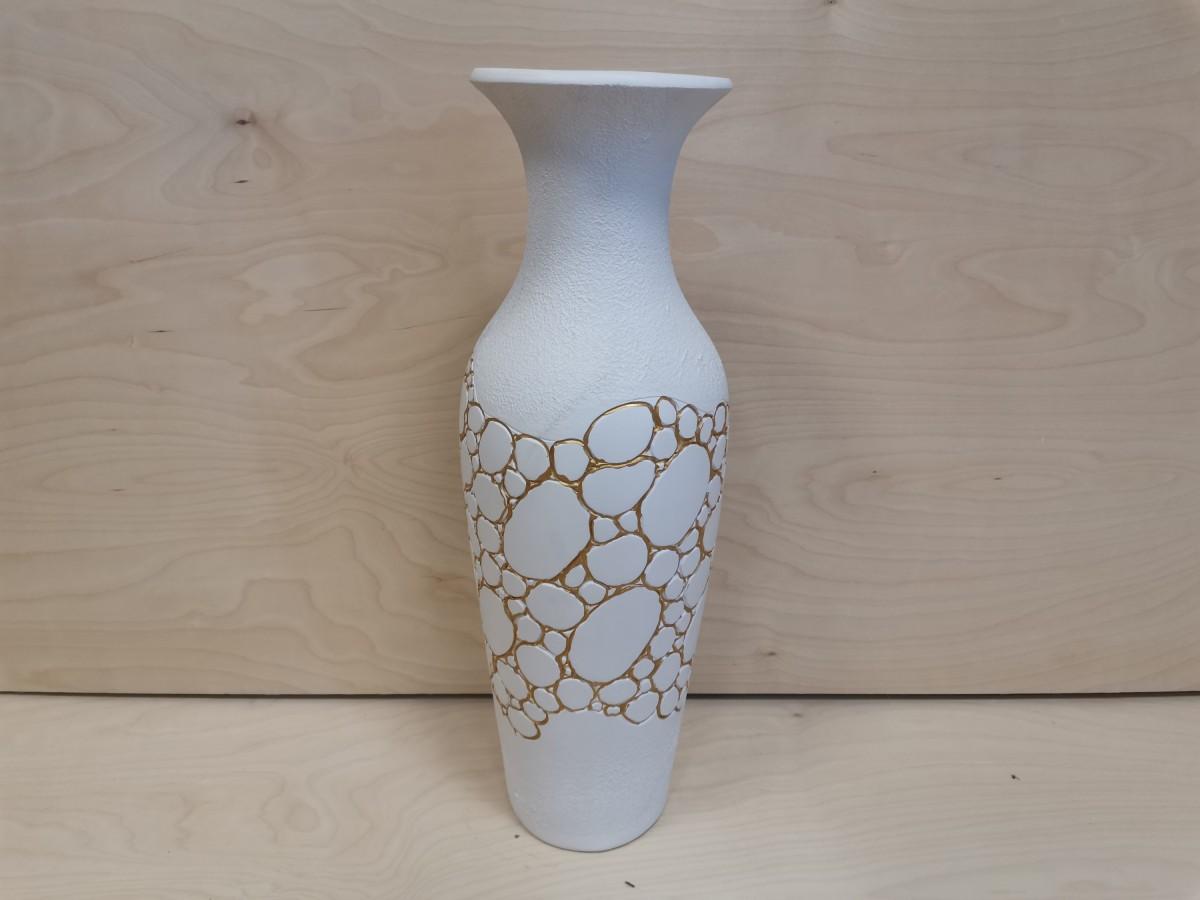 """Ваза напольная, керамика, """"Амфора"""", глянец, 66 см. белая."""
