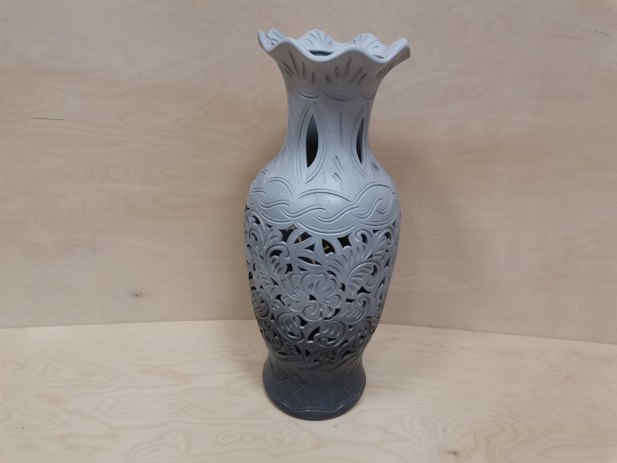 Ваза напольная, керамика, резная, глянец, 63 см.