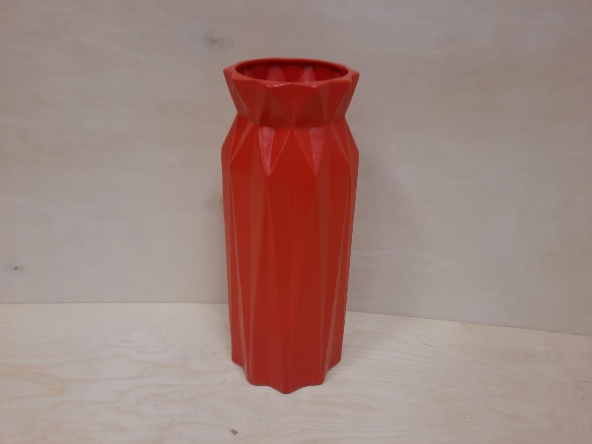 "Ваза напольная, ""Геометрия"", h - 41 см, d - 15 см. Красная."
