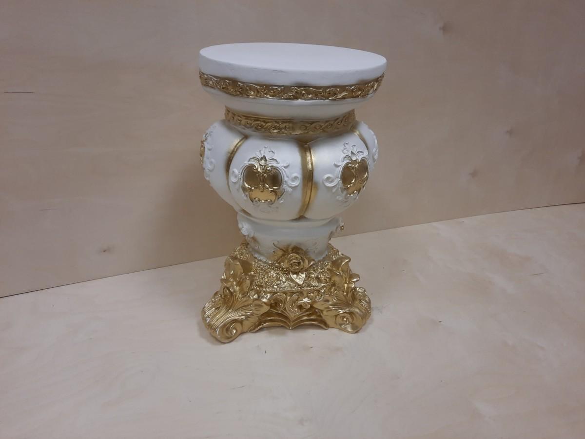 Тумба Клеопатра, h - 54 см, d - 32 см, гипс, цвет - белый с золотом.