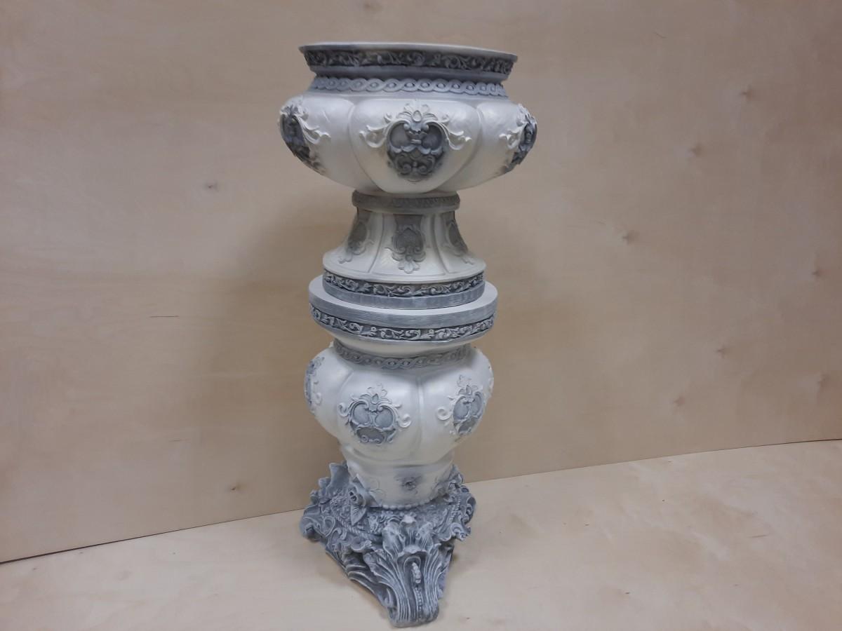 Комплект: тумба Клеопатра + ваза Клеопатра, гипс, h - 92 см, цвет - античный.