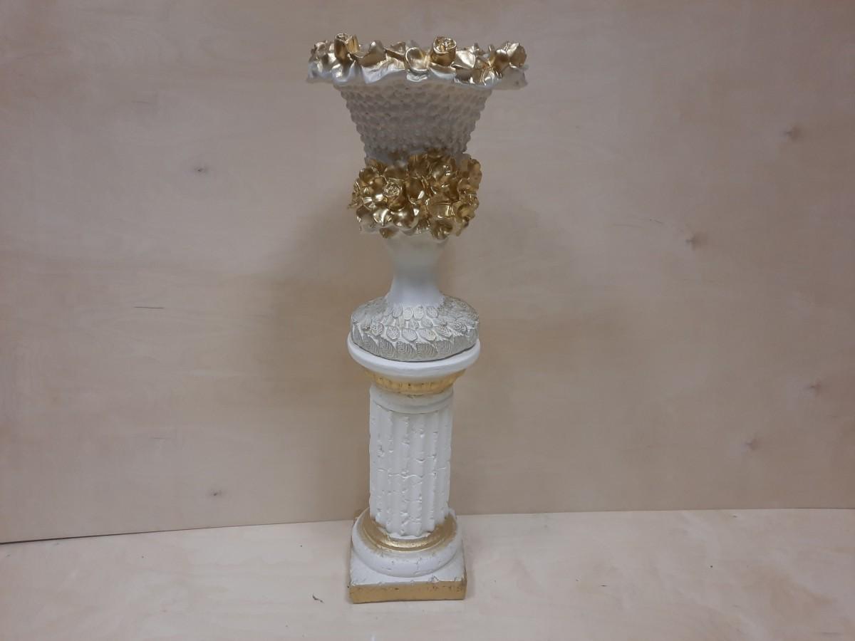 Комплект: колонна + ваза Кубок, гипс, h - 90 см, цвет - белый с золотом.