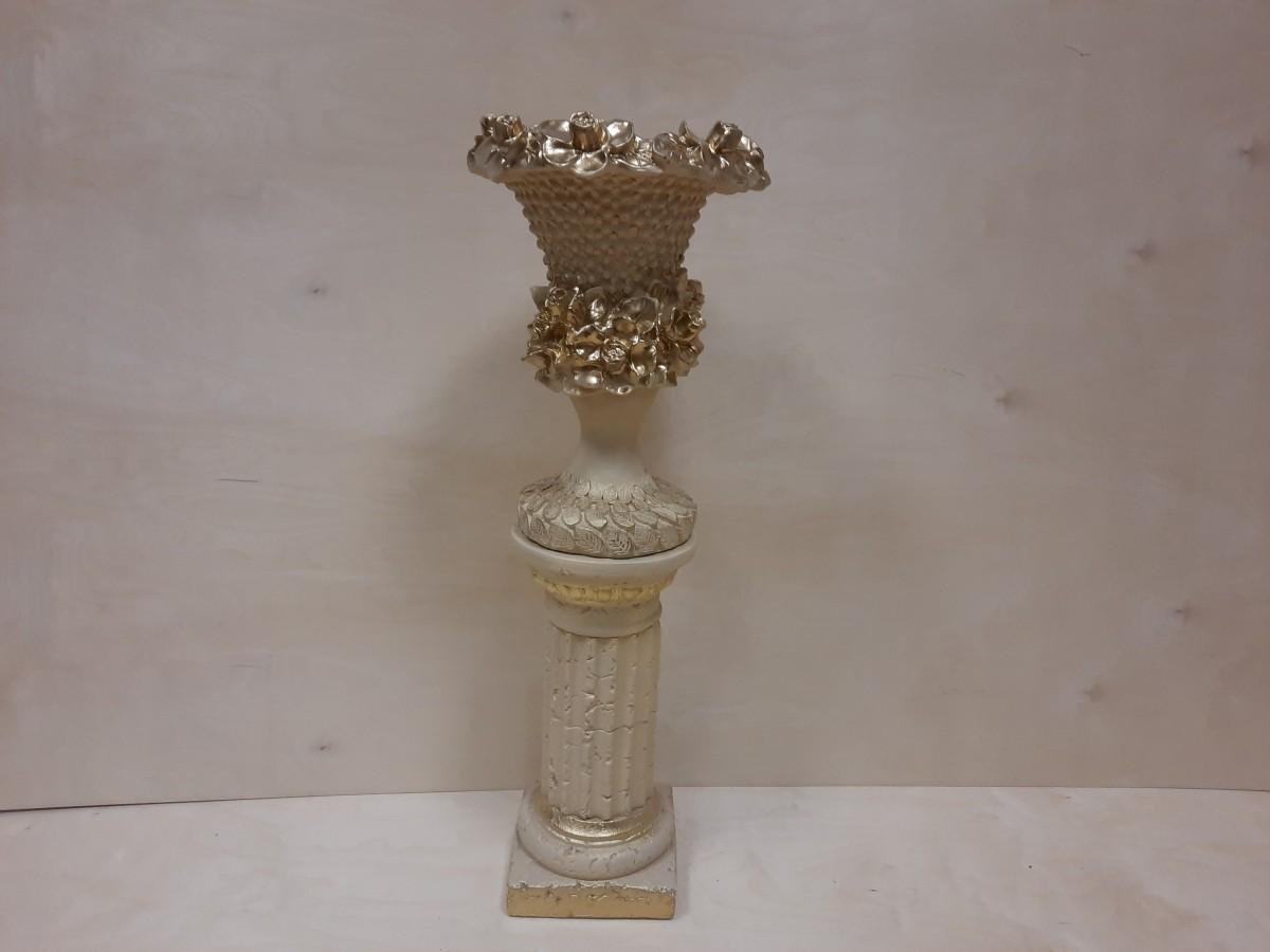 Комплект: колонна + ваза Кубок, гипс, h - 90 см, цвет - слоновая кость.