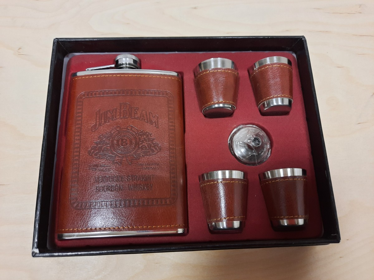 Набор подарочный JackDanices 6 предметов в коробке: фляжка, 4 рюмки, воронка.