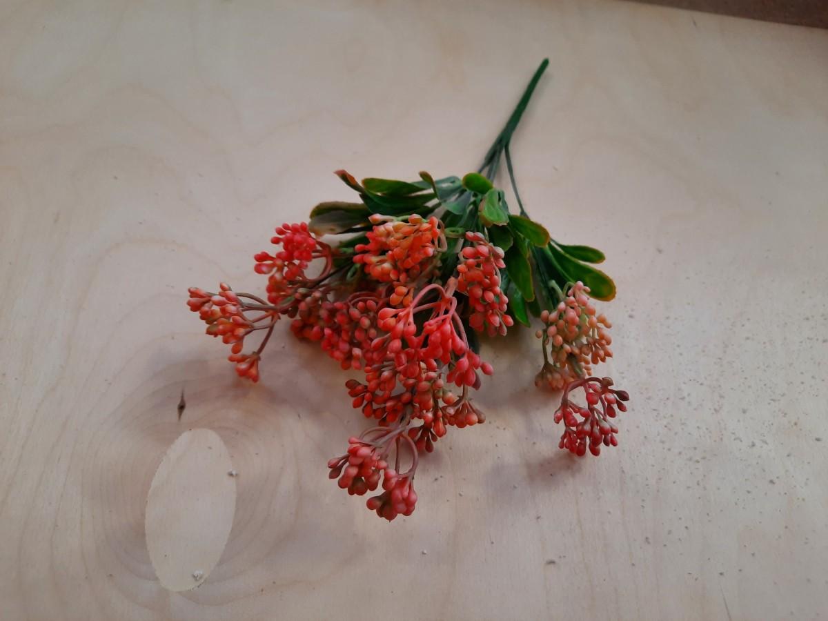 Куст с мелкими ягодками, 32 см, 1 штука, выписывать кратно 2 штукам, цвет - красный.