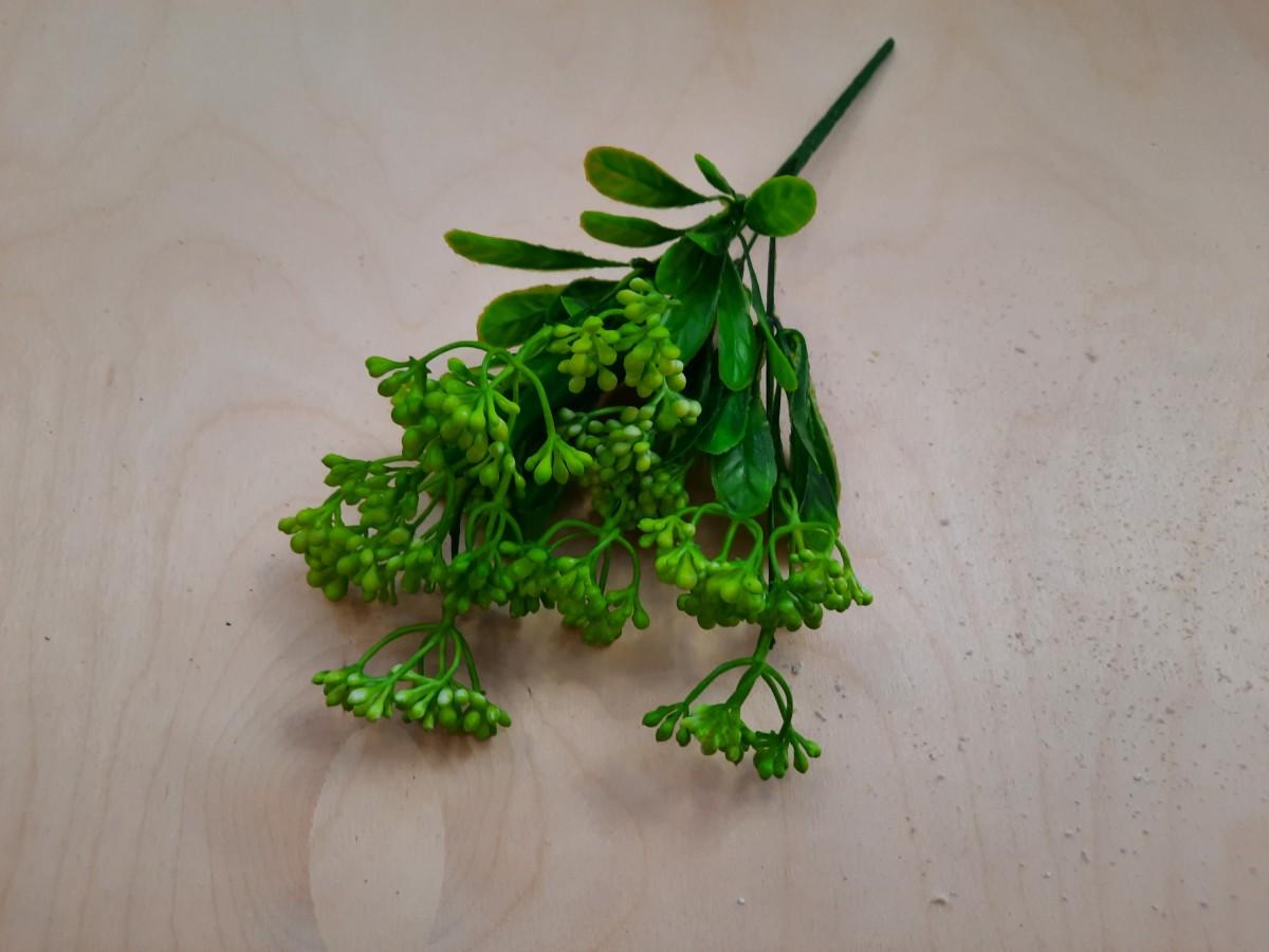 Куст с мелкими ягодками, 32 см, 1 штука, выписывать кратно 2 штукам, цвет - зелёный.