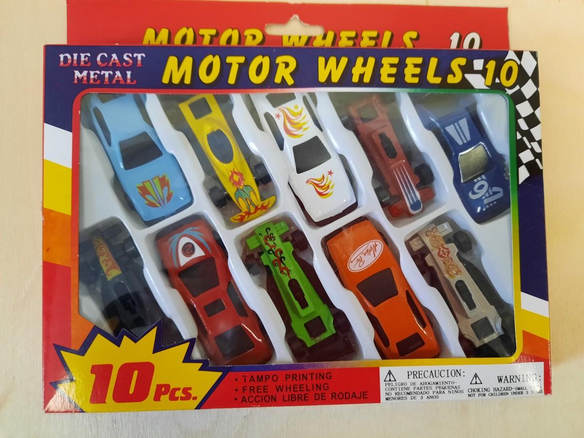 Набор машин, 6,5 см, 10 штук в коробке, металлические.