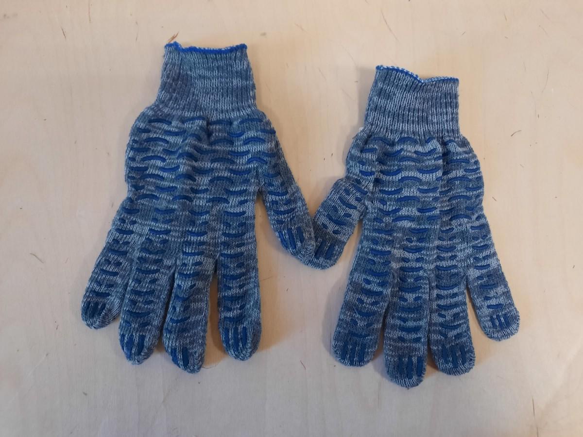Перчатки хозяйственные синие, х/б.