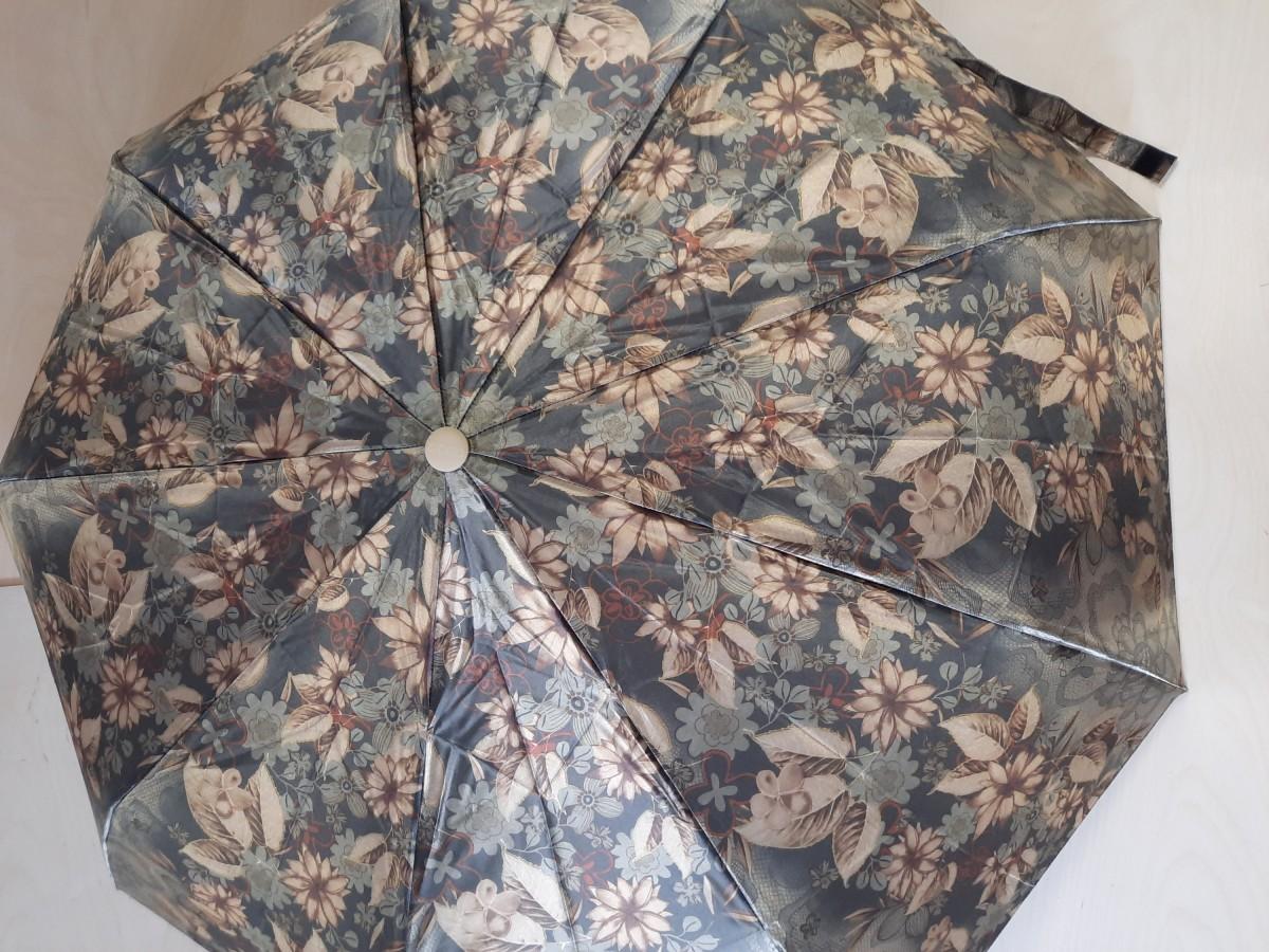 Зонт женский полуавтомат, 9 спиц, шёлк, чёрно-коричневые цветы.