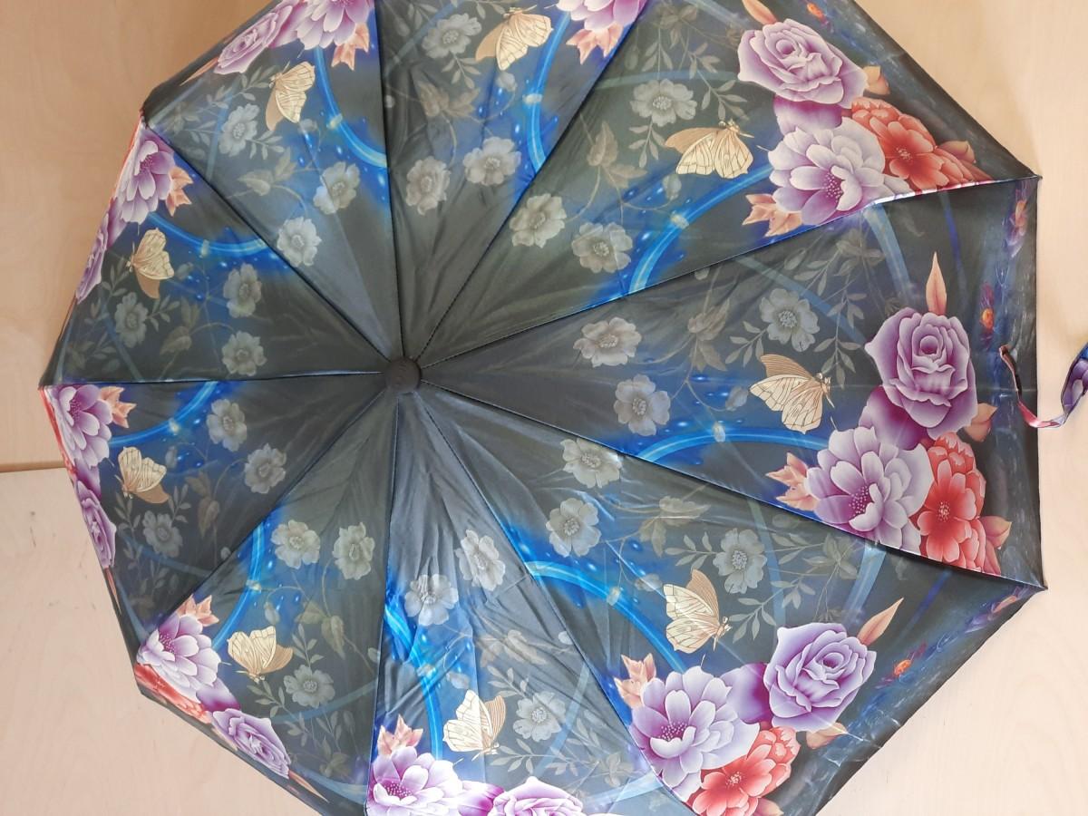 Зонт женский полуавтомат, 9 спиц, шёлк, чёрный с цветами.