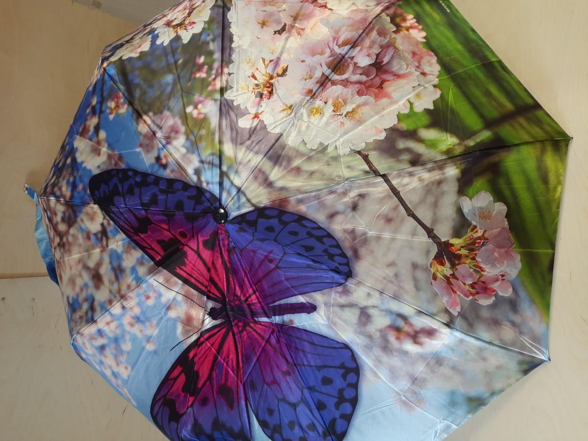 "Зонт женский автомат, 8 спиц, ""Бабочки""."