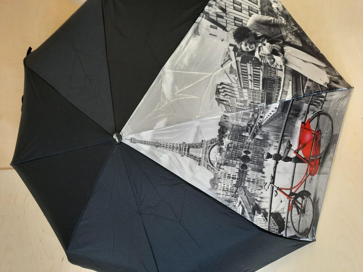 Зонт женский автомат, 8 спиц, Эйфелева Башня, красный велосипед.