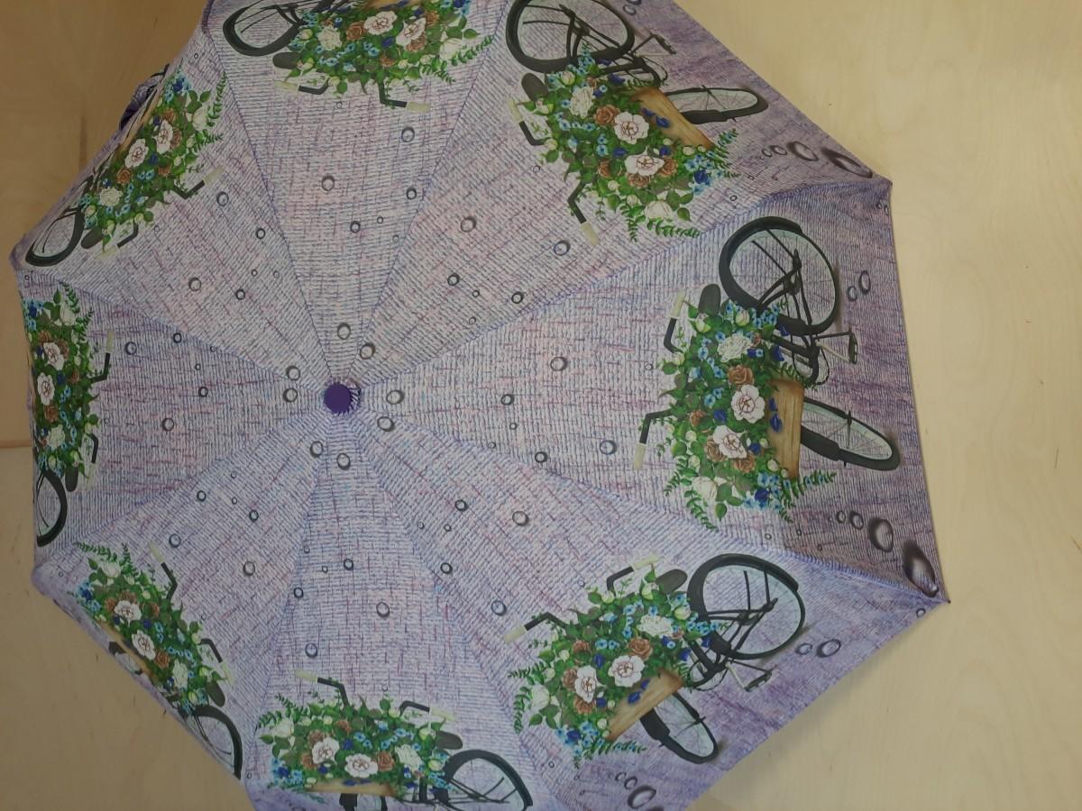 """Зонт женский автомат, 8 спиц, """"Велосипеды"""", сиреневый."""