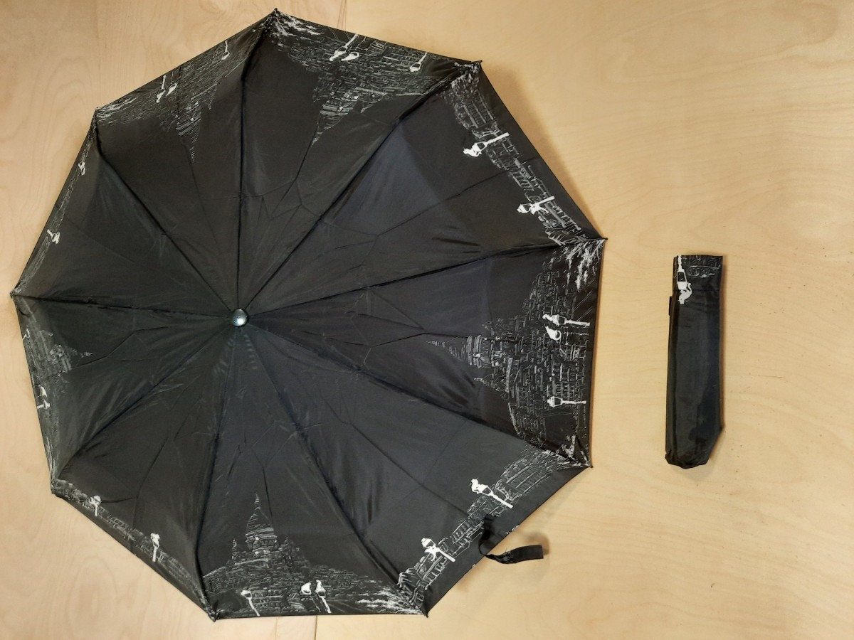Зонт женский полуавтомат, 9 спиц, цвет - чёрный с котами.