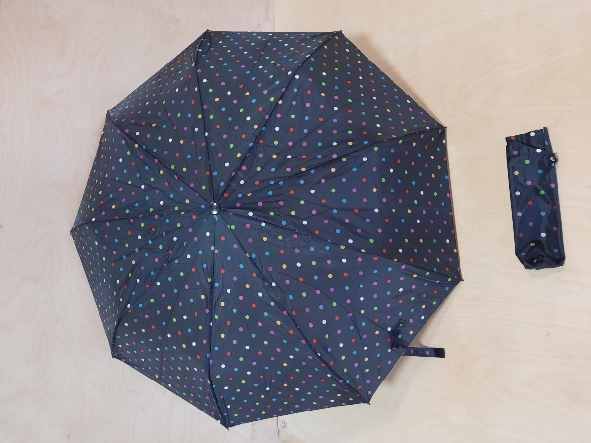 Зонт женский полуавтомат, 9 спиц, цвет - чёрный с горохом.