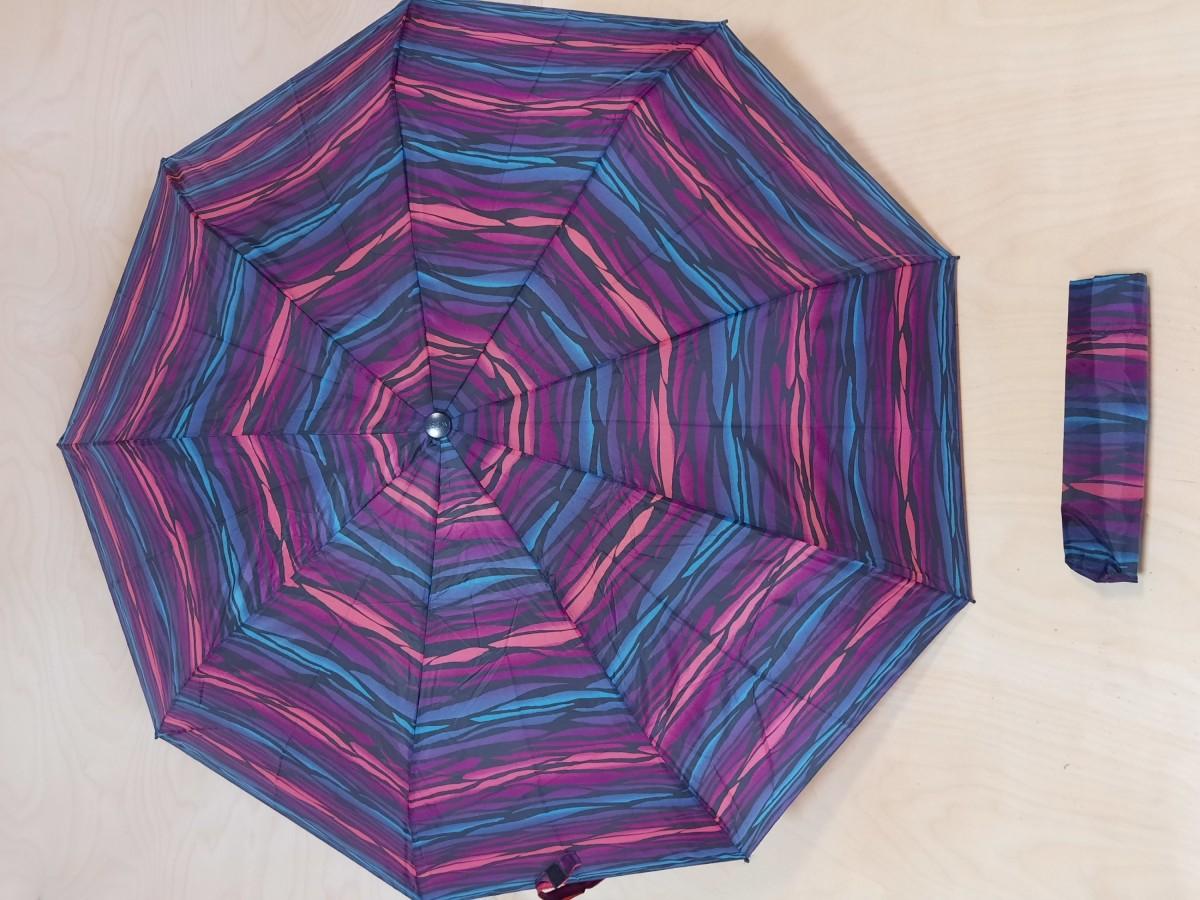 Зонт женский полуавтомат, 9 спиц, цвет - полосатый.