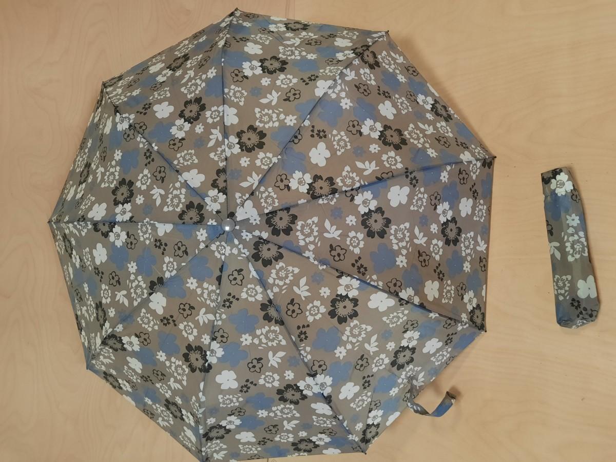 Зонт женский полуавтомат, 9 спиц, цвет - серый с цветочками.