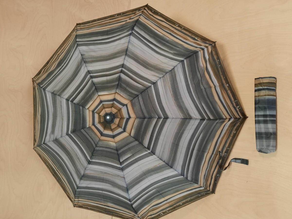 Зонт женский полуавтомат, 9 спиц, цвет - серый с полосками.