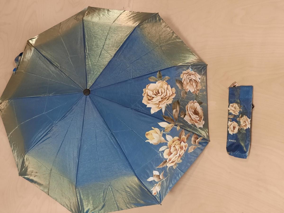Зонт женский полуавтомат, 9 спиц, хамелеон с рисунком, цвет - голубой с жёлтыми цветами.