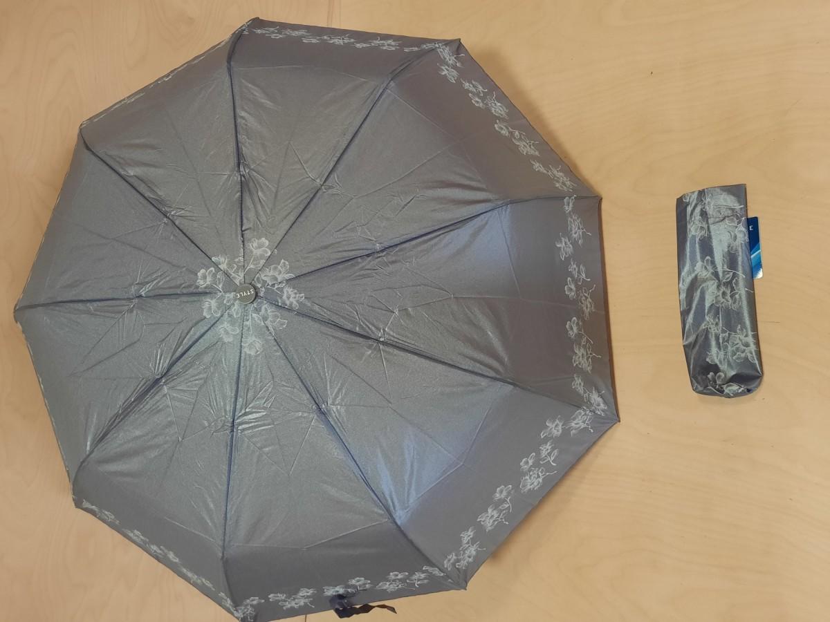 Зонт женский полуавтомат, 9 спиц, перламутровый с рисунком, цвет - светло-сиреневый.