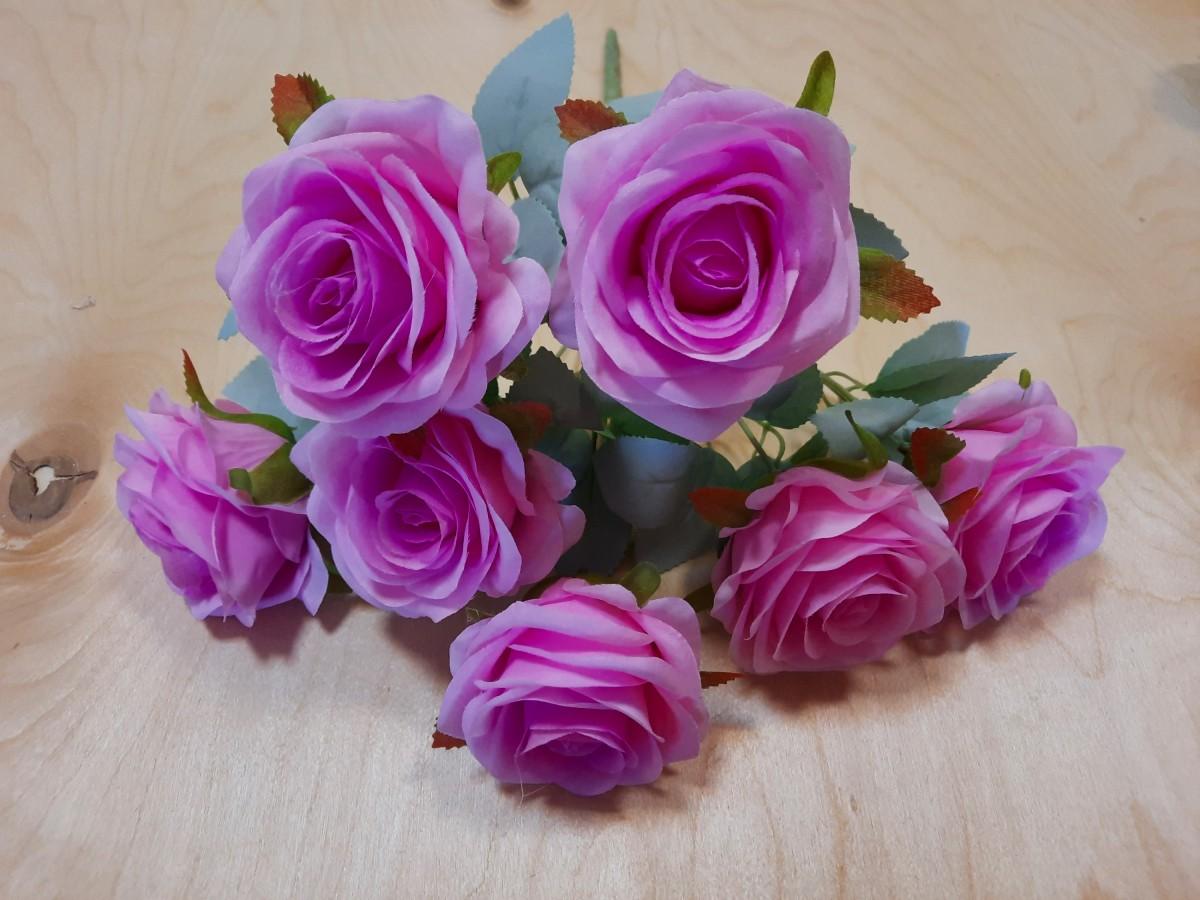 Букет роз из 7 голов, 42 см, цвет - розовый.