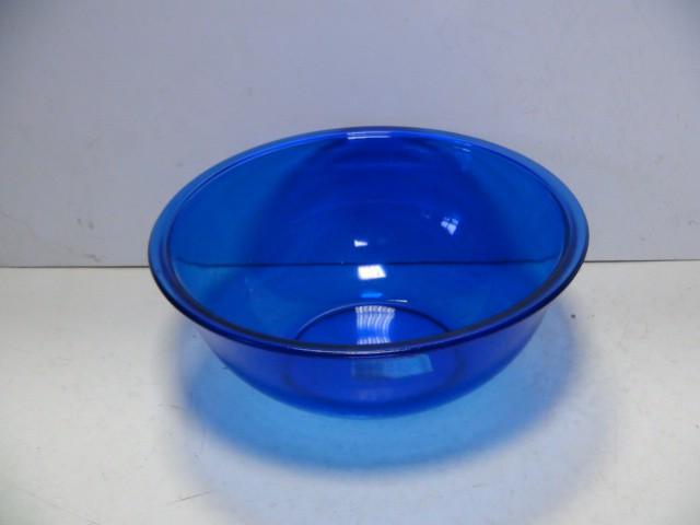 Салатник голубой стекло 3 литра 26 см.