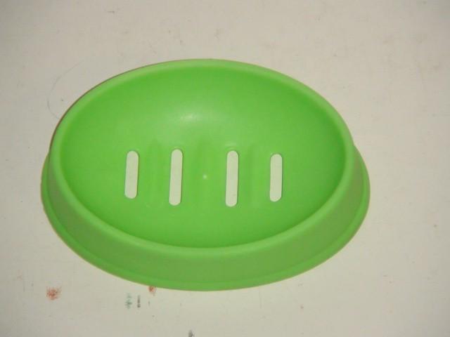 Мыльница овальная зеленая 16*11 см, пластиковая