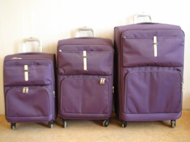 Чемодан 3 в 1, фиолетовый, 4 колеса, ткань ( ЦЕНА ЗА 3 ШТУКИ )