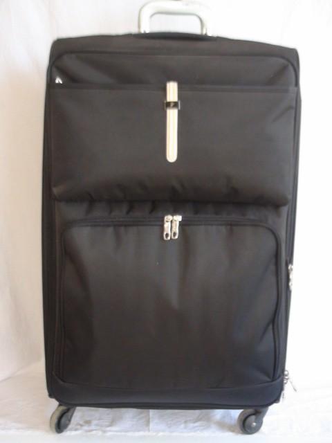 Чемодан большой, черный, 4 колеса, 77*47*28, увелич.+5 см., ткань