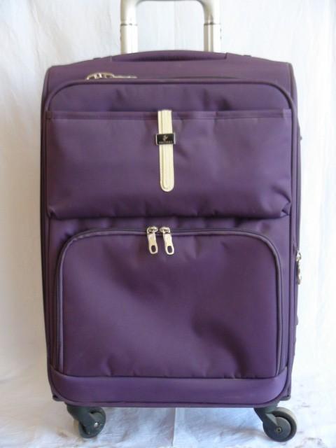Чемодан малый, фиолетовый, 4 колеса, 58*37*22, увелич. + 3 см., ткань