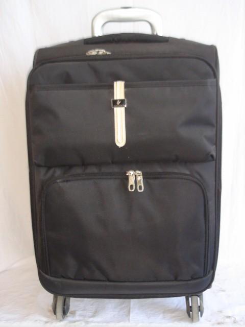 Чемодан малый, черный, 4 колеса, 58*37*22, увелич. + 3 см., ткань