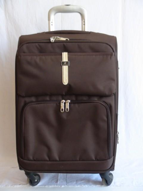 Чемодан малый, коричневый, 4 колеса, 58*37*22, увелич. + 3 см., ткань