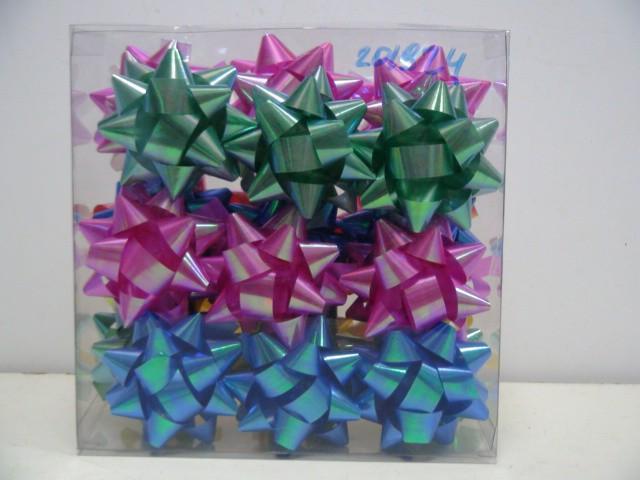 Бант-звезда в ассортименте d=7 см.( 1 упаковка=27 штук)