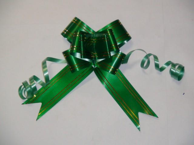 Бант-бабочка зеленый, 3,1 см * 48 см,  D=10 см., (цена за 10 штук)
