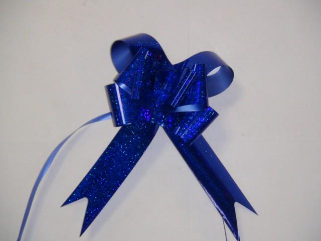 Бант-бабочка голография синий, 3,1*48 см, D=10 см (10 шт)