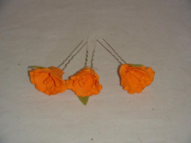 """Шпильки д/волос """"Роза"""" оранжевые, металл, ткань, 9*3 см., 1 штука."""