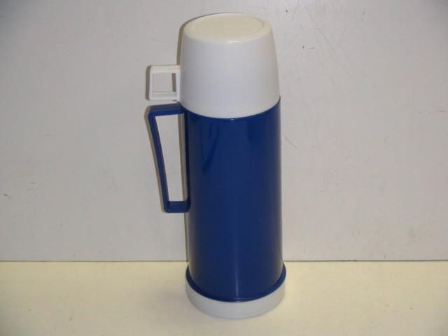 Термос пластмассовый, стеклянная колба 450 мл.синий