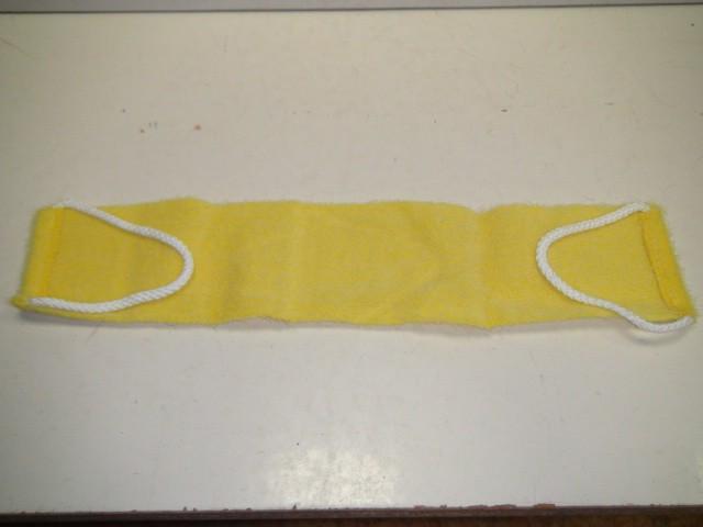Мочалка с ручками, желтая, сизаль 12*50 см.