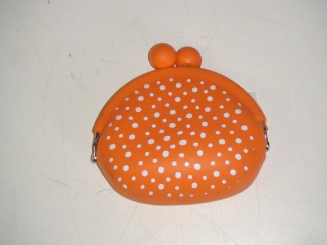 Кошелек силиконовый, оранжевый 9*9*4 см.