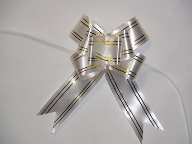 Бант-бабочка белый, 3,1 см. * 48 см, D=10 см., (цена за 10 штук)