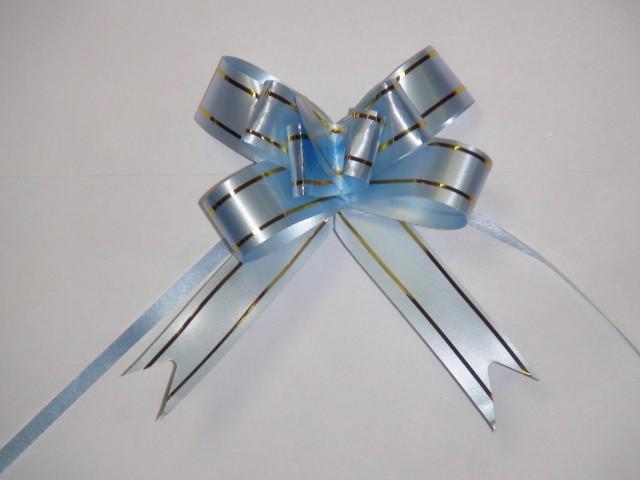 Бант-бабочка голубой, 1,8 см. * 37 см, D=8 см., (цена за 10 штук)