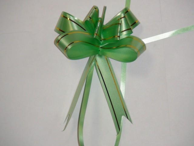 Бант-бабочка зеленый, 1,8 см. * 37 см, D=8 см., (цена за 10 штук)