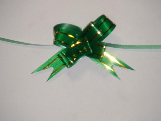 Бант-бабочка темно-зеленый, 1,2 см. * 21,5 см, D=5 см., (цена за 10 штук)