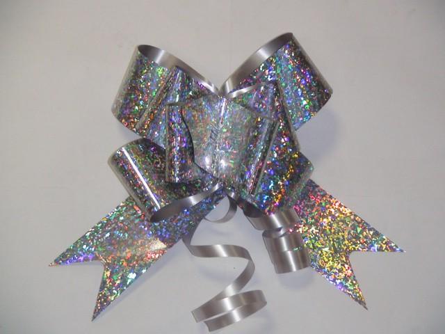 Бант-бабочка голография белый, 5 см. * 75 см, D=17 см., (цена за 10 штук)