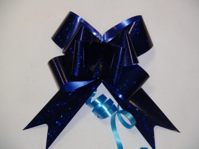 Бант-бабочка голография синий, 5 см. * 75 см,D=17 см., (цена за 10 штук)