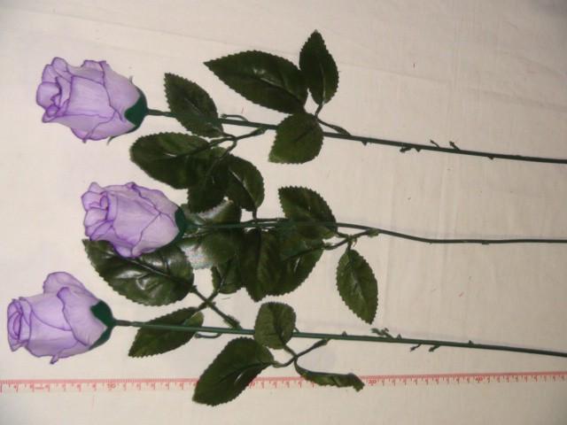 Роза-бутон 74 см., D= 5*3 см., пластик, ткань, фиолетовая
