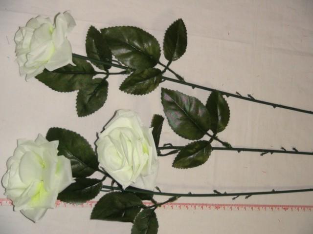 Роза раскрытая 52 см., D=7*4 см., пластик, ткань, белая
