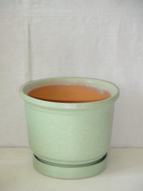 Горшок д/цветов керамический, зеленый, 0,9 л.
