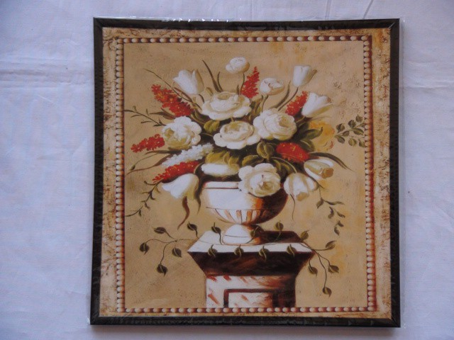 "Панно ""Белая ваза с цветами"" 24*24 см."